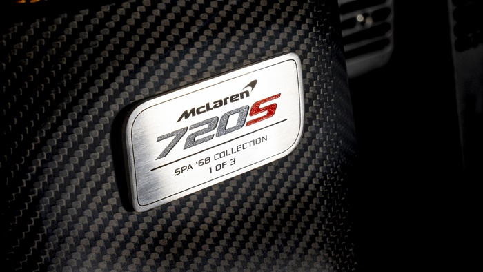 mclaren 720s spa 68 collection dedication plate