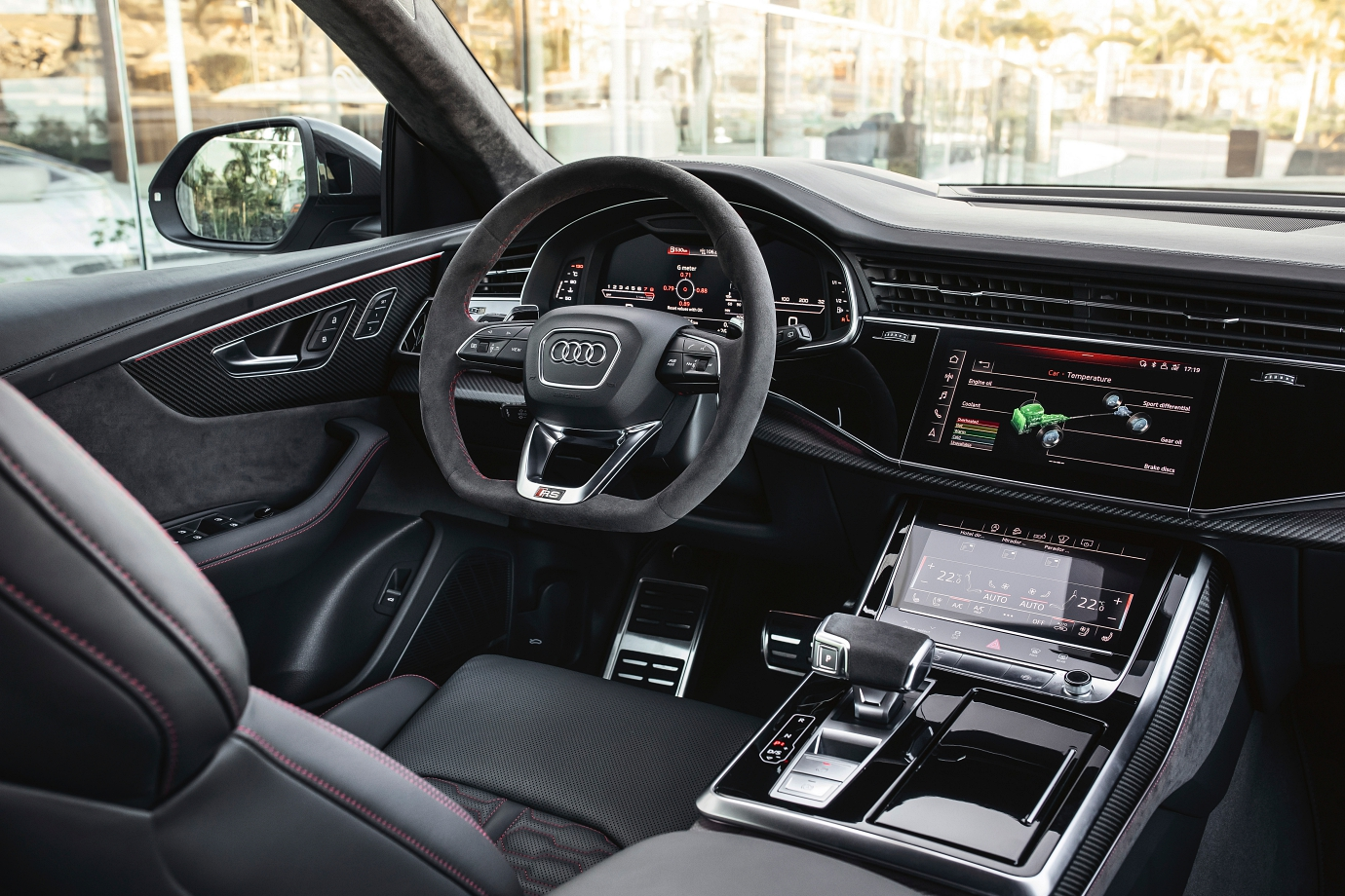 Alcantara touch points: steering wheel and transmission shifter