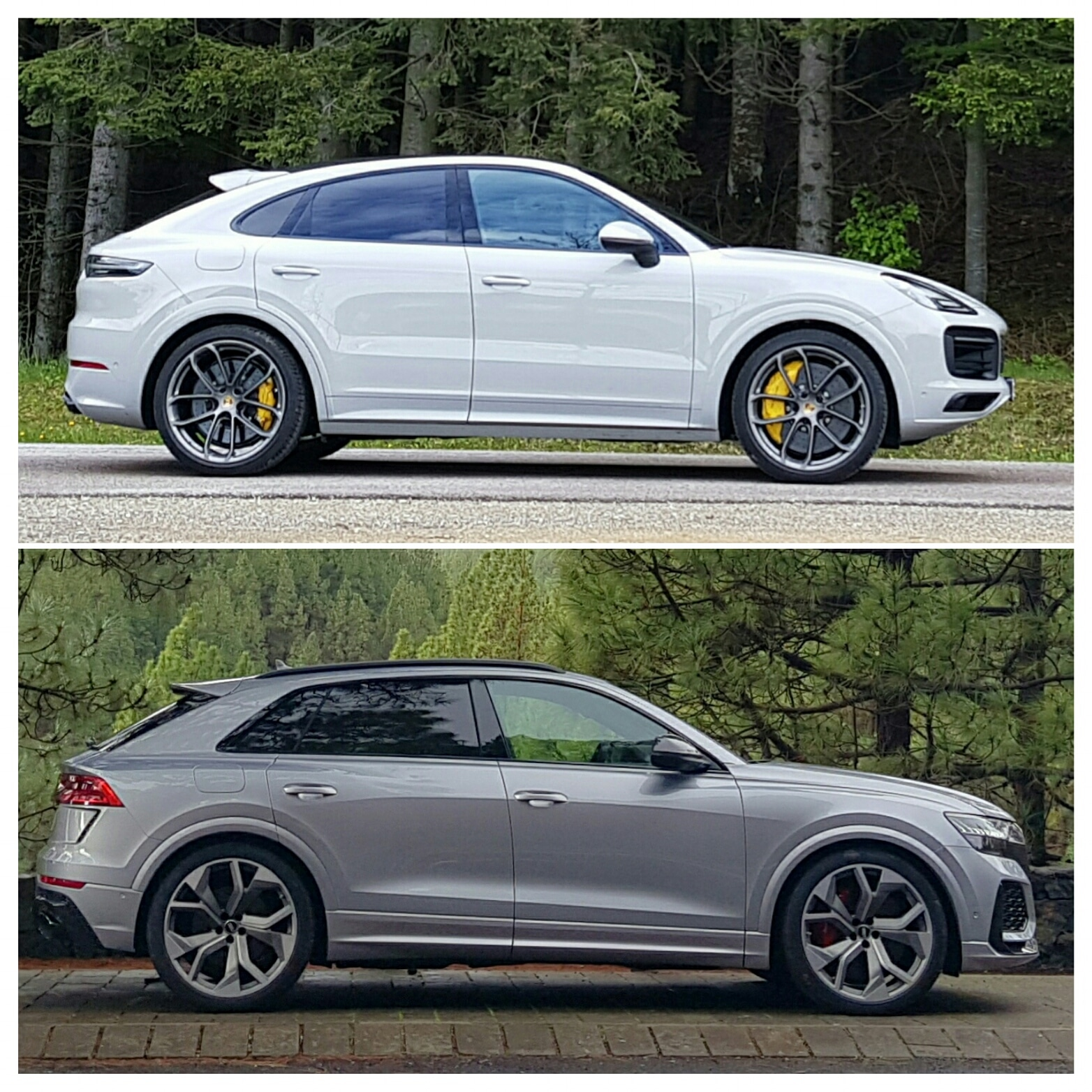 Here's a handy way to compare the 2: Cayenne Coupe is on top, RS Q8 below